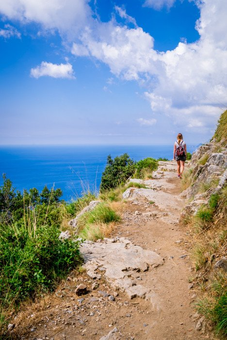 The trail meanders along the coastline towards Positano