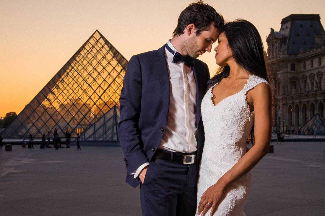 The Louvre courtyard is a top location for a Paris pre-wedding shoot