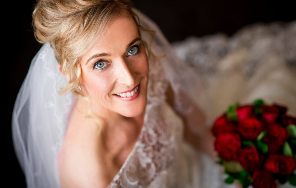 Our bride with window light illuminating her perfectly