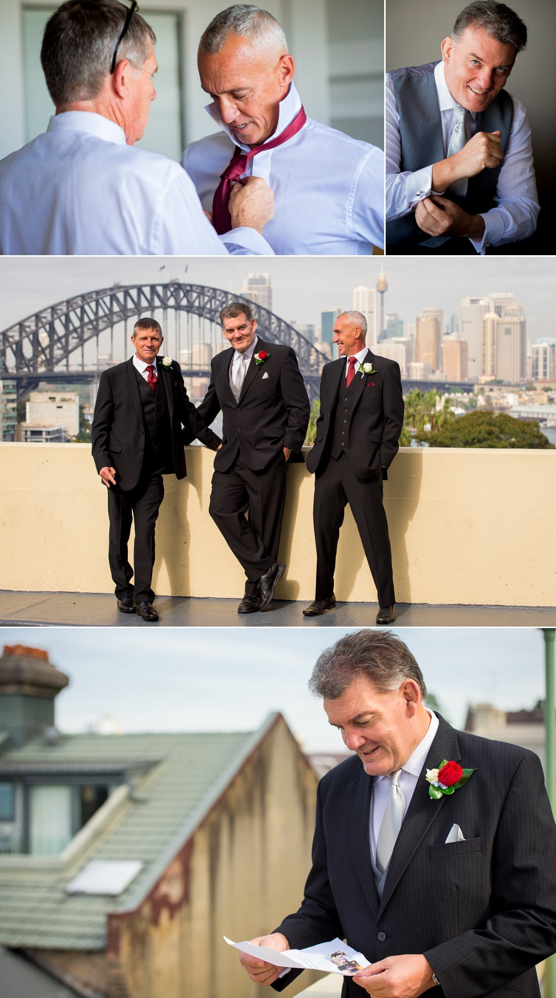The groom and groomsmen outside the North Sydney Harbourview Hotel