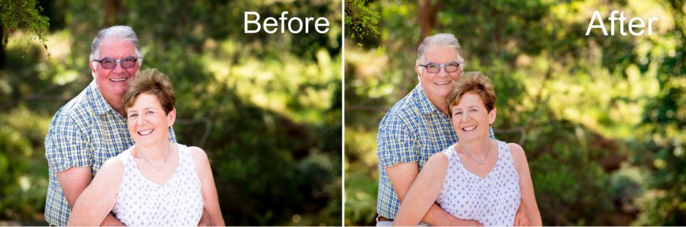 A before and after family photo demonstrating the benefits of professional retouching