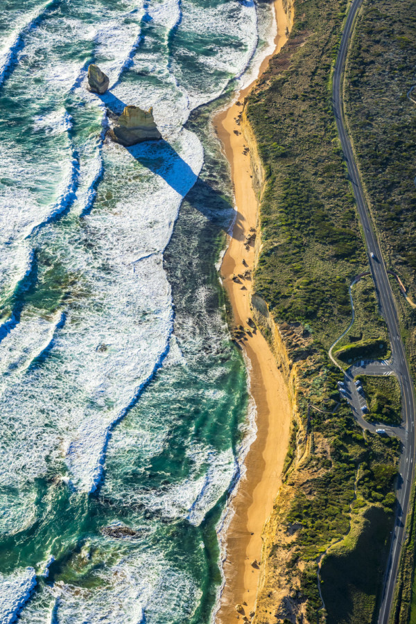 great ocean road in Victoria, Australia from an aerial perspective