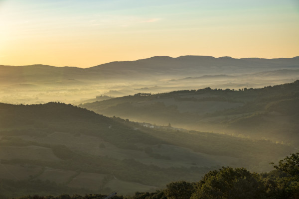Hills of Tuscany at sunrise